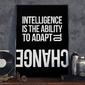 Intelligence is the ability to adapt to change - plakat w ramie , wymiary - 40cm x 50cm, wersja - białe napisy + czarne tło, kolor ramki - biały