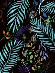 Wzór liście - plakat wymiar do wyboru: 50x70 cm