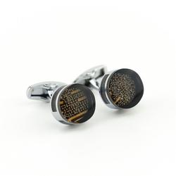 Okrągłe, brązowe spinki do mankietów kc-1059 onyx-art london