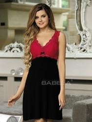 Babella Larisa Czarno-czerwona koszula nocna