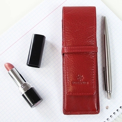 Krenig classic 12032 czerwone skórzane etui na długopisy - czerwony