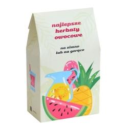 Najlepsze  owocowe. zestaw herbat owocowych z zaparzaczem - 10 saszetek 10x 58g z mieszankami owocowymi w różnych smakach + ananasowy zaparzacz, owocowy prezent upominek podarunek