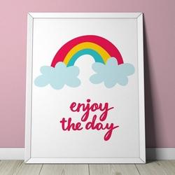 Rainbow - plakat dla dzieci , wymiary - 18cm x 24cm, kolor ramki - biały