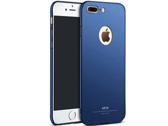 Etui msvii thin case iphone 7 plus z wycięciem granatowe +szkło - granatowy