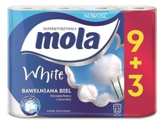 Mola bawełniana biel, papier toaletowy, 2 warstwy, 12 rolek