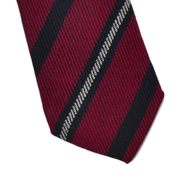 Bordowy krawat wełniany van thorn w granatowe pasy