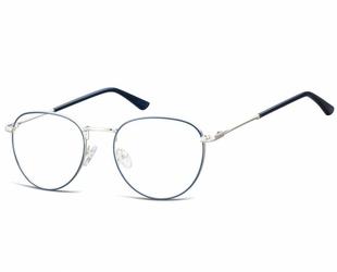Okulary oprawki owalne lenonki optyczne 920d srebrno-niebieskie
