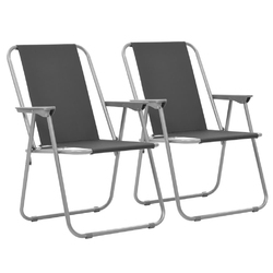 Vidaxl składane krzesła turystyczne, 2 szt., 52 x 59 x 80 cm, szare