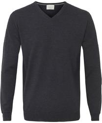 Sweter  pulower v-neck z wełny z merynosów grafitowy xxl