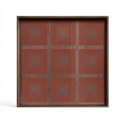 Ethnicraft :: taca dekoracyjna pumpkin squares kwadratowa czerwona rozm. s
