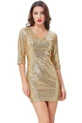 Cekinowa złota sukienka wieczorowa z rękawem 34 - 037