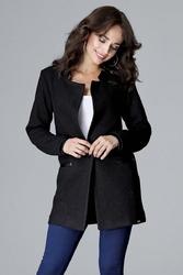 Czarna elegancka kurtka na stójce z detalami z eko-skóry