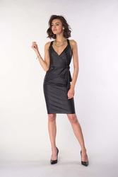 Czarny elegancki asymetryczny top na szelkach