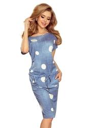 Sukienka mini w kolorze jeansu w grochy