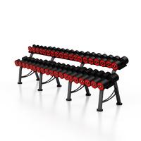 Zestaw hantli stalowych gumowanych 5-50 kg czerwony połysk ze stojakiem l mp-hsgk5-l-k1 - marbo sport