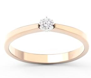 Pierścionek zaręczynowy z różowego i białego złota z brylantem cp-2410pb - różowe i białe  diament