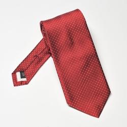 Elegancki DŁUGI czerwony krawat jedwabny Hemley w białe kropki