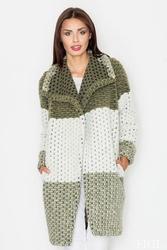 Zielony elegancki płaszcz wełniany