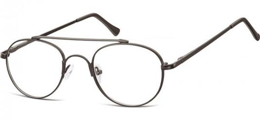Okulary oprawki okrągłe zerówki metalowe korekcyjne 785 czarne