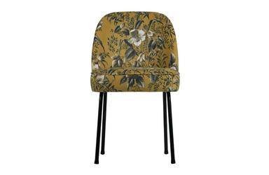 Be pure krzesło do jadalni vogue musztardowe z motywem kwiatowym 800816-40