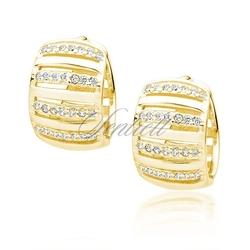 Srebrne pozłacane kolczyki pr.925 kółka z cyrkoniami - żółte złoto