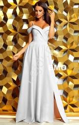 Biała suknia z odkrytymi ramionami | długa suknia ślubna elizabeth