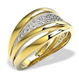 Pierścionek z żółtego złota z brylantami lp-48z-b