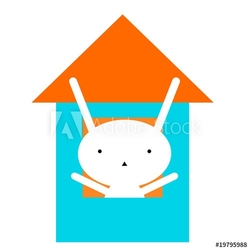 Obraz na płótnie canvas czteroczęściowy tetraptyk dom bunnie