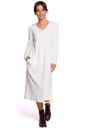 Ecru długa prosta sukienka dzianinowa z kapturem