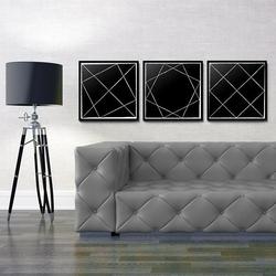 Geometric art - komplet plakatów , wymiary - 40cm x 40cm 3 sztuki, kolor ramki - biały