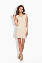 Beżowa mini sukienka z kieszenią