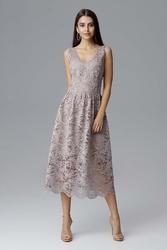 Beżowa rozkloszowana sukienka koronkowa na szerokich ramiączkach