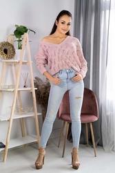 Ażurowy sweter z dekoltem kształcie litery v - pudrowy