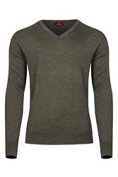 Oliwkowy sweter męski z wełny merino w serek  xxs