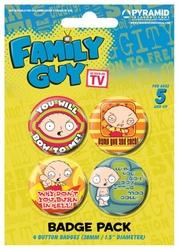 Family Guy Stewie - zestaw 4 przypinek