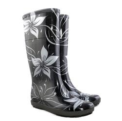 Czarne kalosze damskie w kwiaty hawai lady exclusive ec
