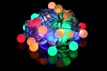 Lampki ogrodowe 50 led, pastelowe kolorowe kulki dekoracyjne