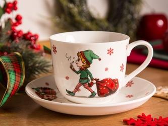 Filiżanka porcelanowa ze spodkiem świąteczna altom design świąteczne elfy 430 ml