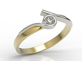 Pierścionek z żółtego i białego złota z brylantem 0,10 ct hsi model ap-3210zb