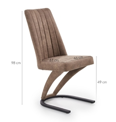 Krzesło tapicerowane do salonu bilio ekoskóra brązowe