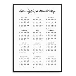 Pisany - kalendarz 2020 w ramie , wymiary - 70cm x 100cm, kolor ramki - biały