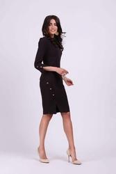 Grafitowa ołówkowa sukienka z ozdobnymi guzikami