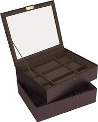 Pudełko na zegarki podwójne stackers 18 komorowe brąz khaki