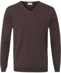 Sweter  pulower v-neck z wełny z merynosów w kolorze kasztanowym m