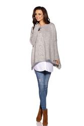 Asymetryczny jasnoszary sweter ponczo z warkoczem