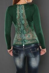 Sweter z koronką na plecach, butelkowa zieleń 044