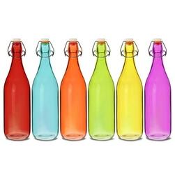 butelki do lemoniady kolorowe 1 l 6 szt. - mix kolorów