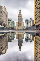 Pałac kultury w lustrze - plakat premium wymiar do wyboru: 59,4x84,1 cm