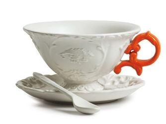 Filiżanka do herbaty ze spodkiem i łyżeczką I-Tea pomarańczowa