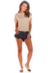 Beżowa oversizowa bluzka wiązana na plecach
